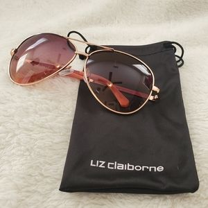 Liz Claiborne Sloane Rose Gold Aviator Sunglasses